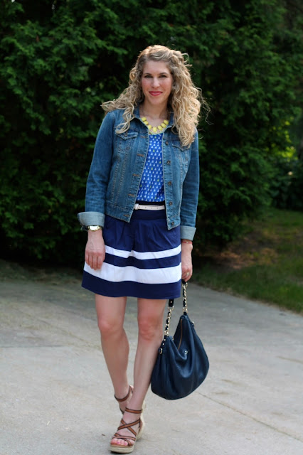 sailboat print top, blue striped skirt, denim jacket, wedges, navy Kate Spade bag