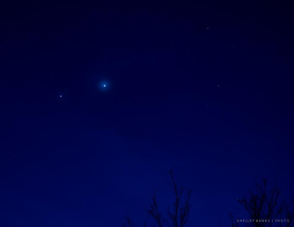 Prairie Nature Jupiter And Venus Meet In The Night Sky
