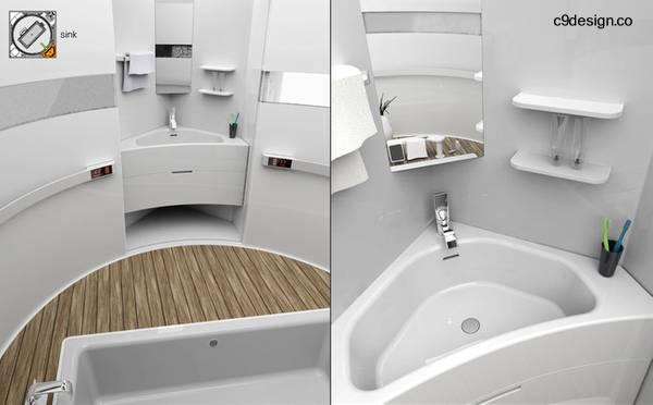 Imágenes del renderizado de un proyecto de baño completo en un módulo de forma cúbica