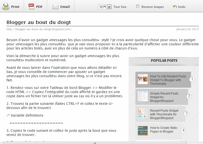 exemple article du blog à imprimer grâce à Print Friendly