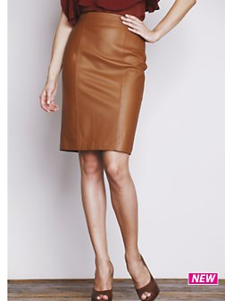 camel leather pencil skirt