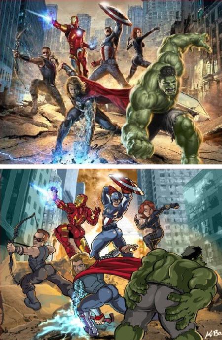 Que tal si hiciéramos posar a Los Vengadores cómo la Viuda Negra