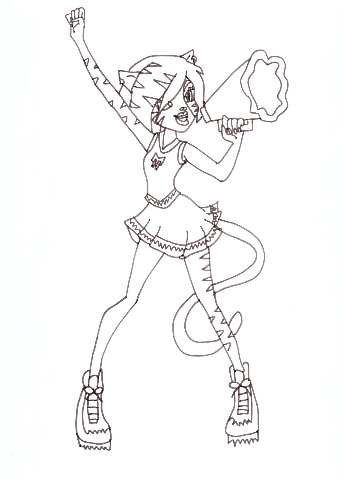 free printable monster high coloring pages toralei fearleading