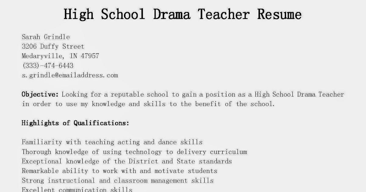 resume samples high school drama teacher resume sample