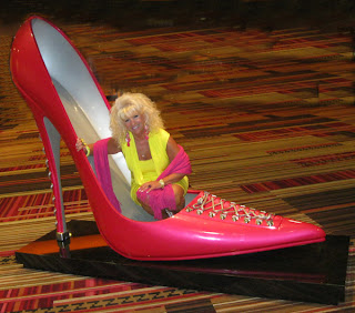 Mikki Williams with a Big Pink Stiletto
