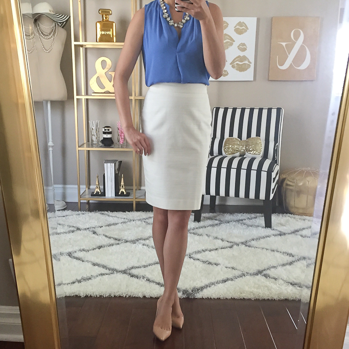 Ann Taylor white pencil skirt, Christian Louboutin pigalle nude pumps, classic Summer work outfit, Gemstone necklace, LOFT petite split neck shell