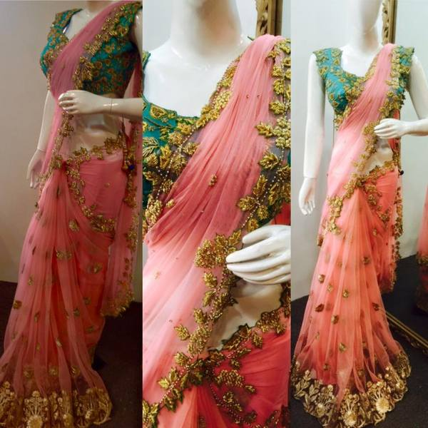 Zardosi Work Peach Saree
