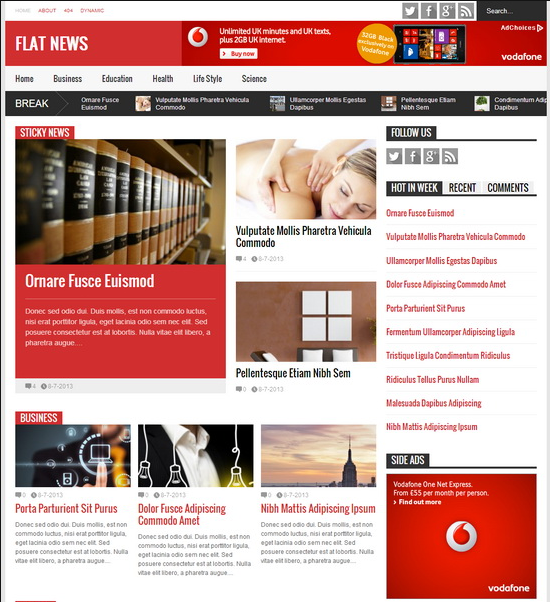 Flat News News Magazine Blogger Template
