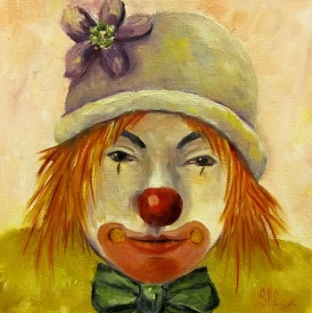 "Sweet Potato, the Party Clown in oils. 6"" x 6"" x 1.5"" canvas"