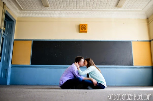 cute school-themed engagement photos