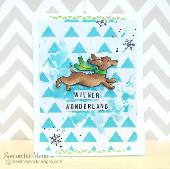 Wiener Wonderland Card by Samantha Mann | Holiday Hounds Stamp set by Newton's Nook Designs #newtonsnook