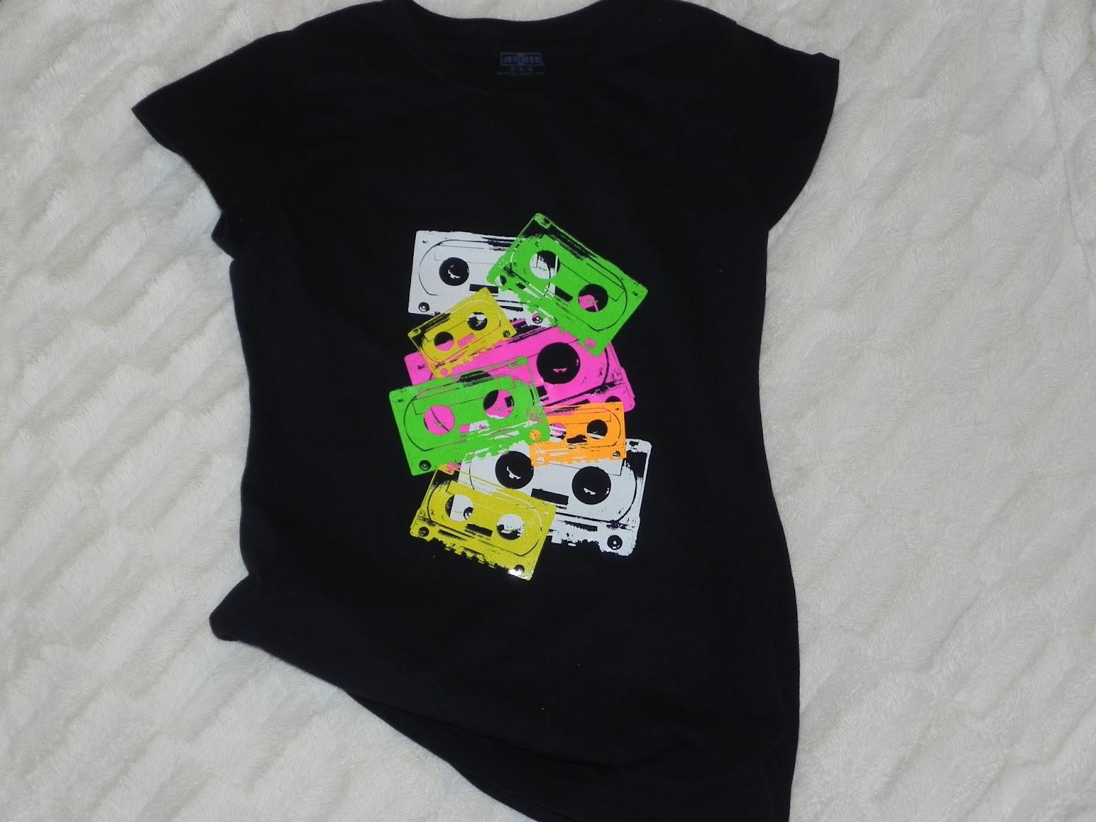 Smart n snazzy diy neon mix tape print t shirt for Diy tee shirt printing