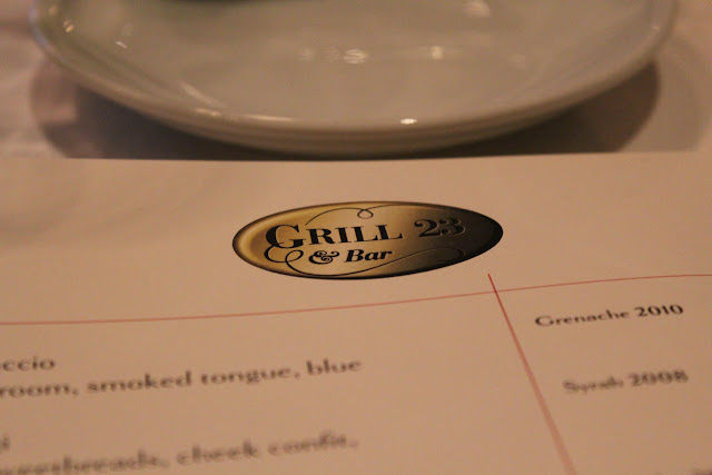 Menu at Grill 23, Boston, Mass.