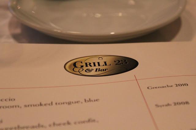 Menu at Grill 23, Boston, Mass.