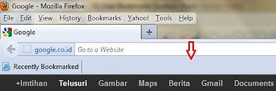 tampilan bookmarks toolbar