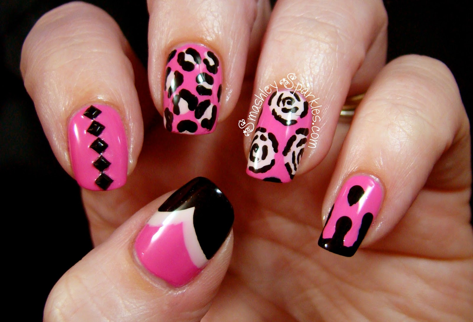 Black White And Pink Nails  Looking FANCY