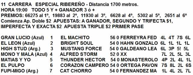 Especial Ribereño Hipódromo de La Plata