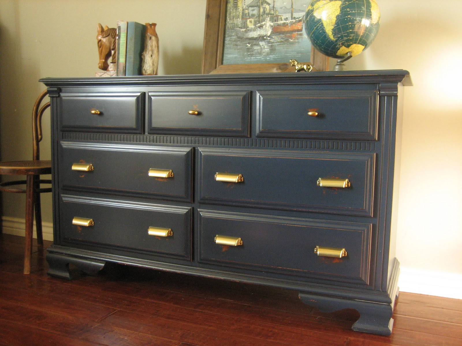 European paint finishes navy brass dresser for Navy blue painted furniture