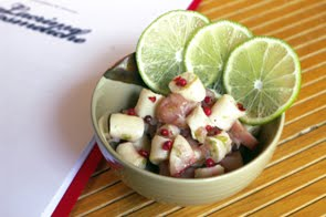 Insalata di polipo e topinambur con scorza di lime e pepe rosa