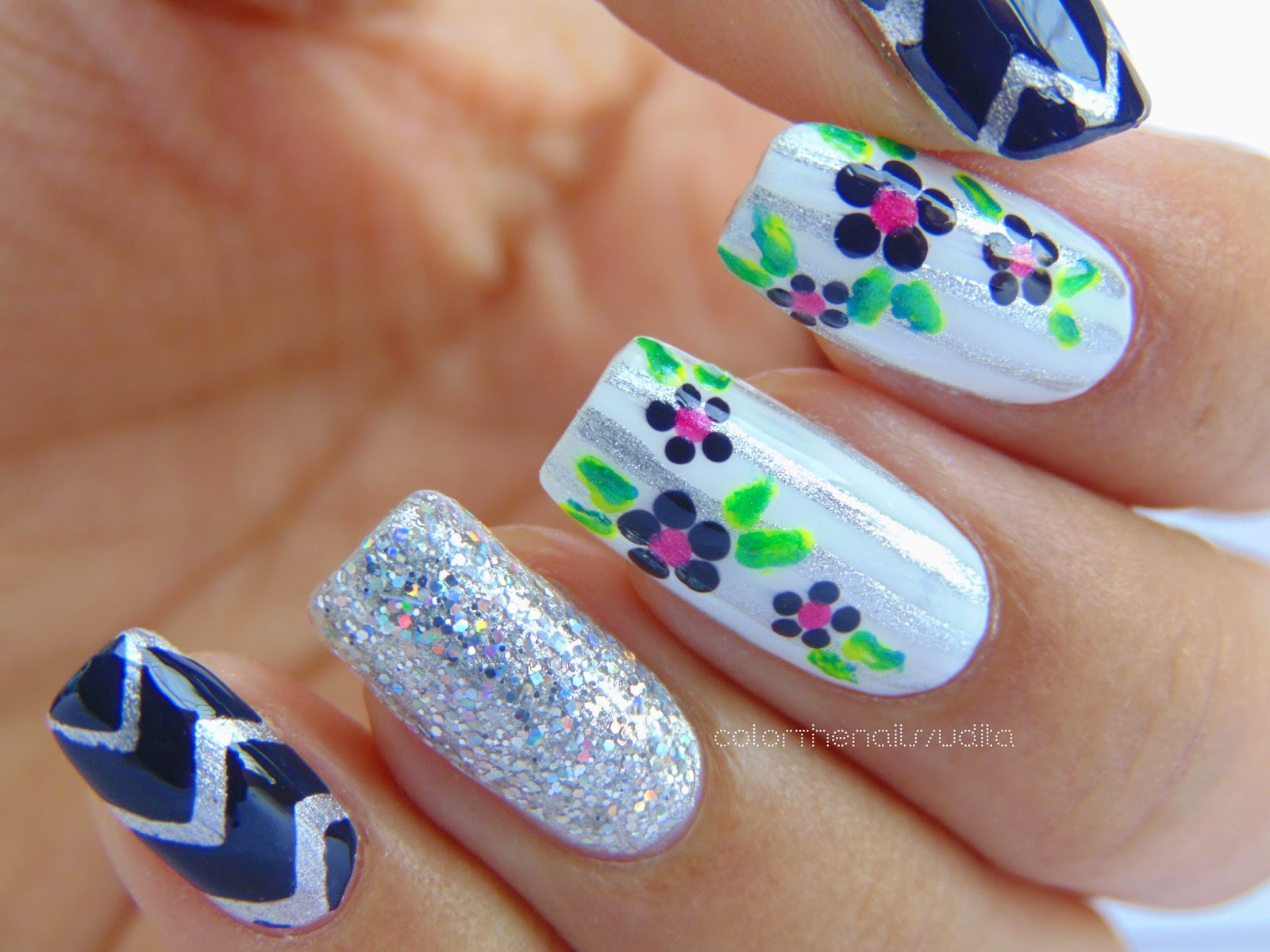 Classic Floral Stripes Nail Art Color The Nails