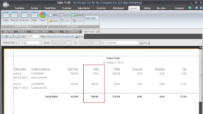 Calculate Cost in Sales Profit