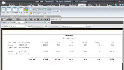 Calculate Cost in Sales Profit