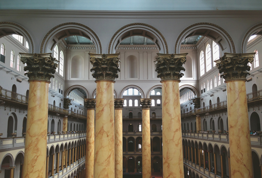 The interior of the National Building Museum in Washington, DC