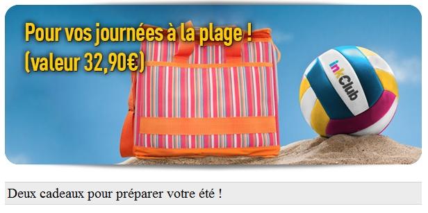 Gratuit: ballon de beach-volley + glacière isotherme pour toute commande sur inkClub bon plan cadeau gratuit promo inkclub 2012