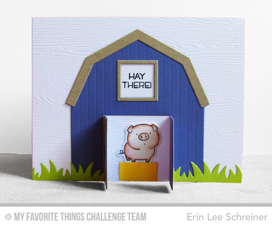 Hay There Card by Erin Lee Schreiner featuring the Birdie Brown The Whole Herd stamp set and Die-namics as well as the Barn Die-namics #mftstamps