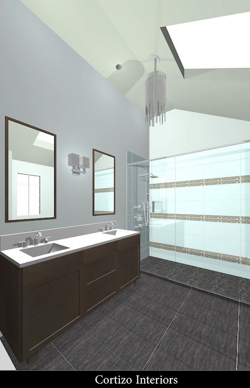Bamboo impression porcelain tiles lead you into a river stone shower  title=