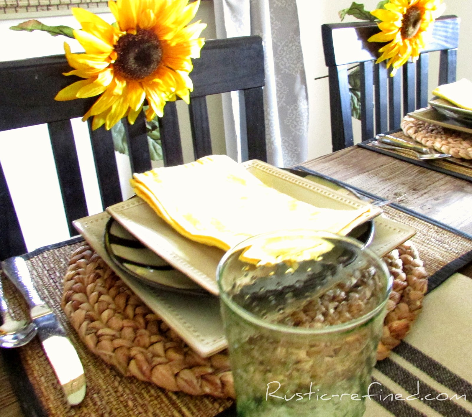 Country Yellow & Cream Tablescape @ Rustic-refined.com