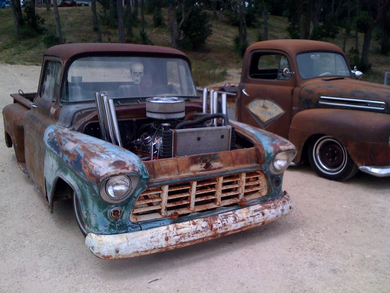 1955 Chevy Truck Rat Rod http://hotrodekustom.blogspot.com/2011/08/chevy-and-ford-truck-rat-rods.html
