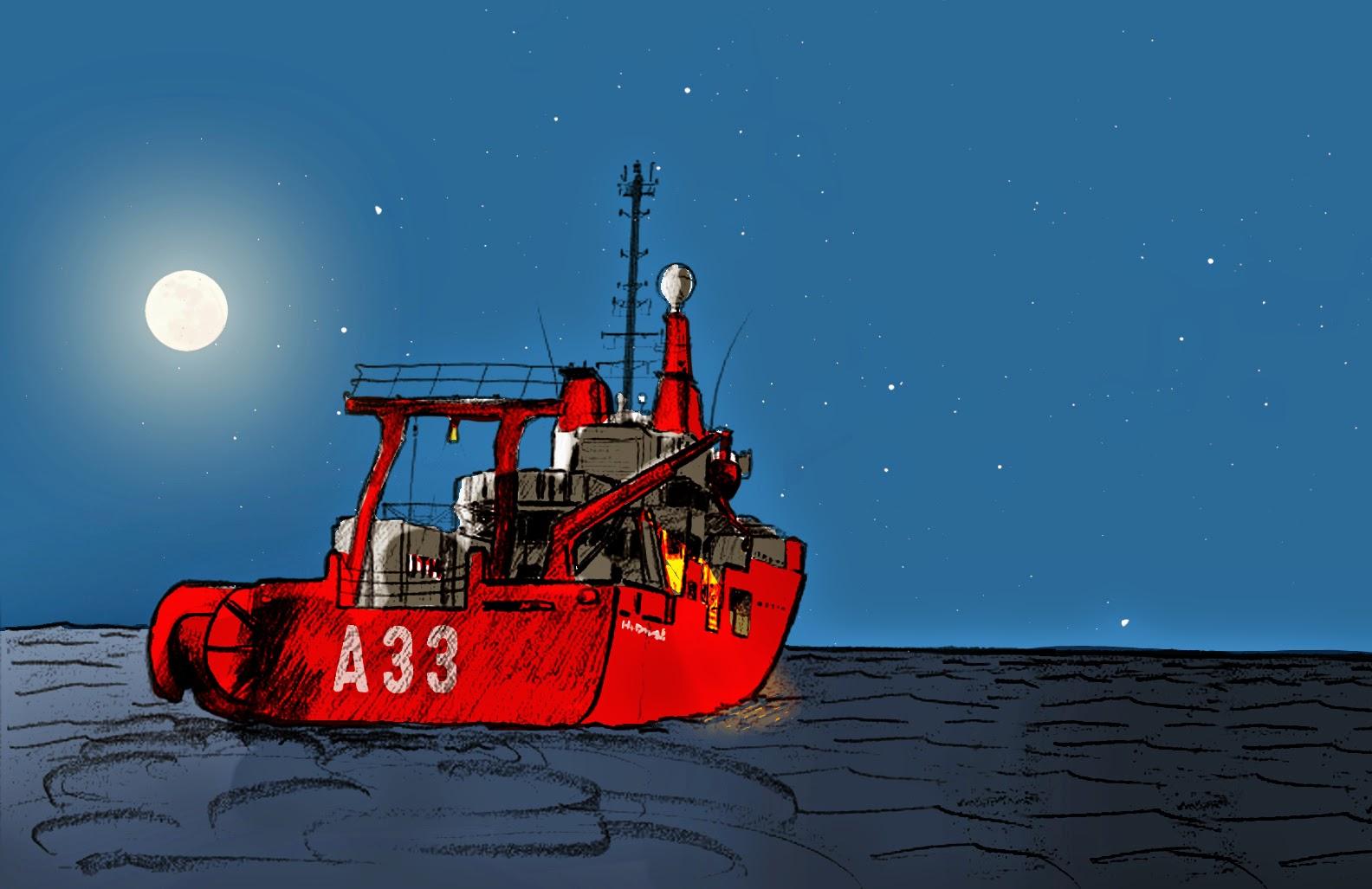 Viñeta con el barco Hespérides del cómic de divulgación Expedición Malaspina 2011