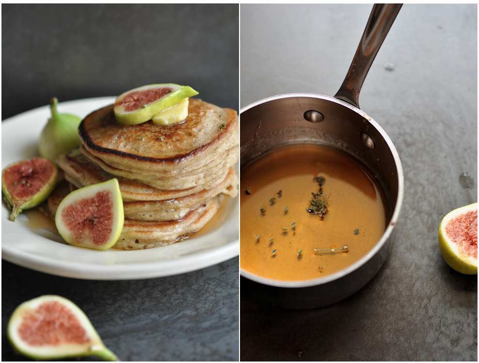 ... table : {foraging} rye and yogurt pancakes with figs and fennel syrup