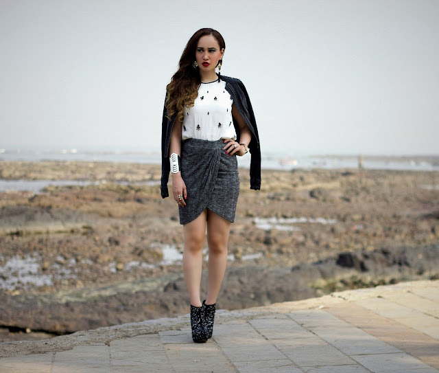 ONLY Denim Biker Jacket, Embellished White Top, Grey Drape Skirt, edgy Party Look, Studded Ankle Boots