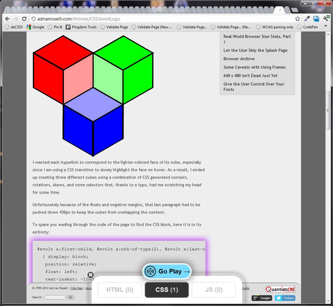 Codepen Has Handy Sharing Tools For Devs Adrian Roselli Block Diagram Javascript Bookmarklet