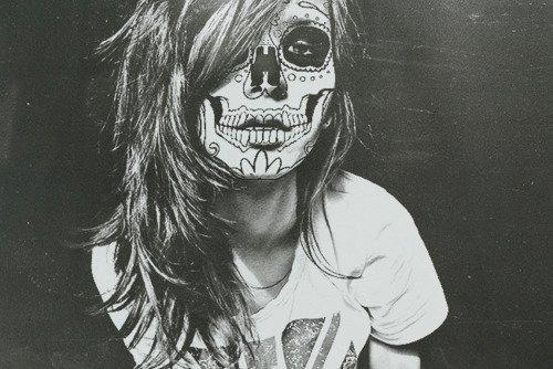 black-and-white-girl-long-hair-painted-face-sugar-skull-Favim.com ... Sugar Skulls Face Paint Black And White