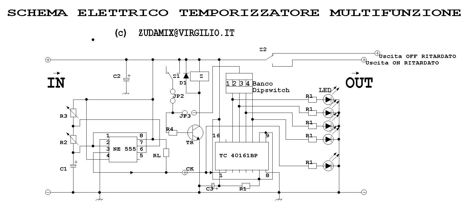 Schema Elettrico Per Temporizzatore : Circuiti online timer multifunzione