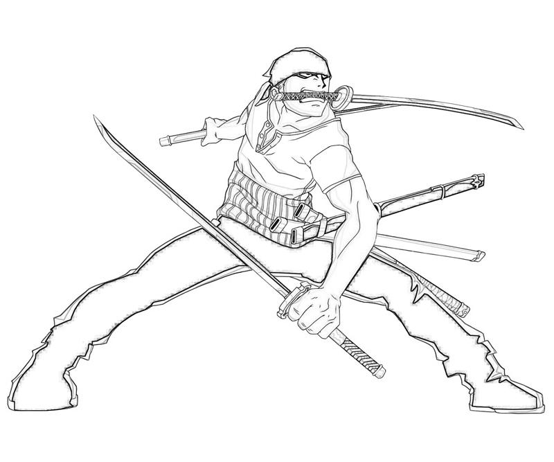 Printable One Piece Roronoa Zoro Sword Coloring Pages
