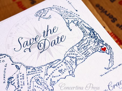 Cape Cod Map Save the Date with Heart by Concertina Press