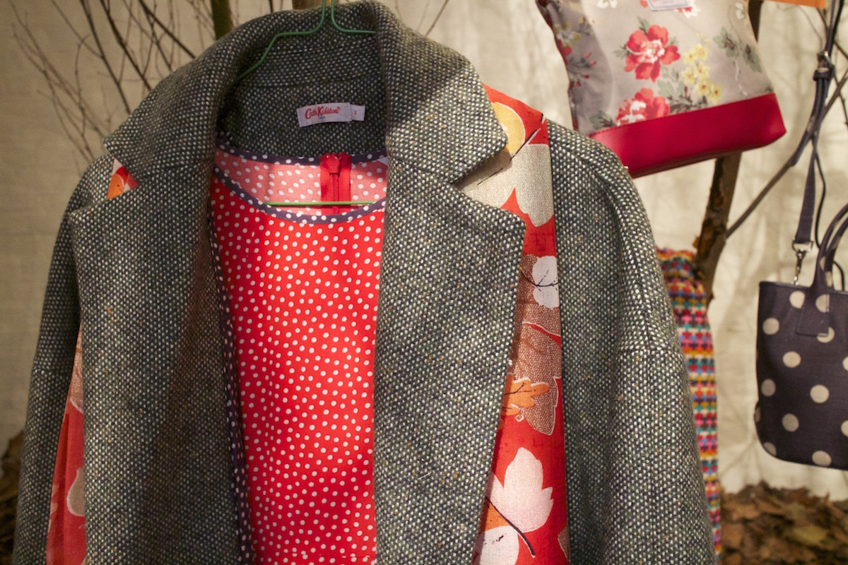 cath kidston grey coat and autumn leaves scarf aw15