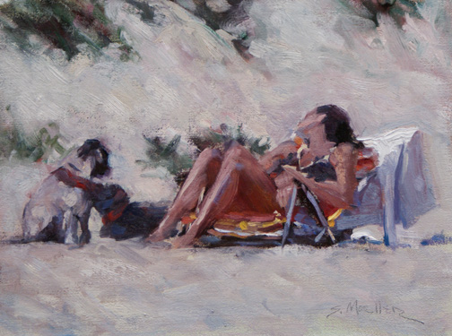D.W.C. On the Beach - Artist Stan Moeller