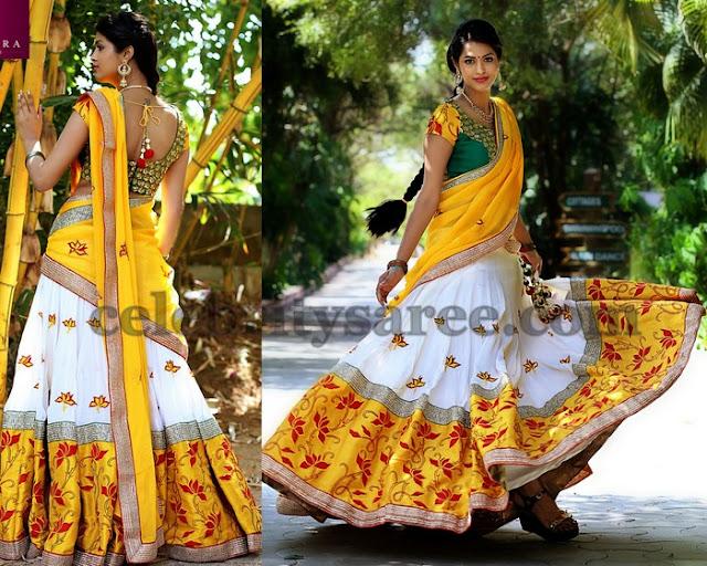 White Half Sari by Kanakadhara