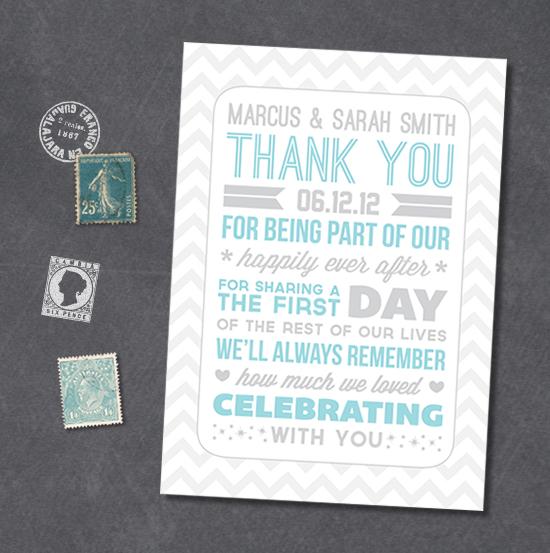 Thank U Cards For Wedding Gifts : Typography Style Wedding Thank You Notes & a Freebie poppytalk ...