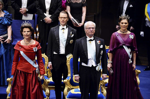 Queen Silvia, Crown Princess Victoria of Sweden and Prince Daniel, Prince Carl Philip and Princess Sofia, Princess Madeleine and Christopher O'Neill, Princess Christina attend the 2015 Nobel Prize Awards Ceremony