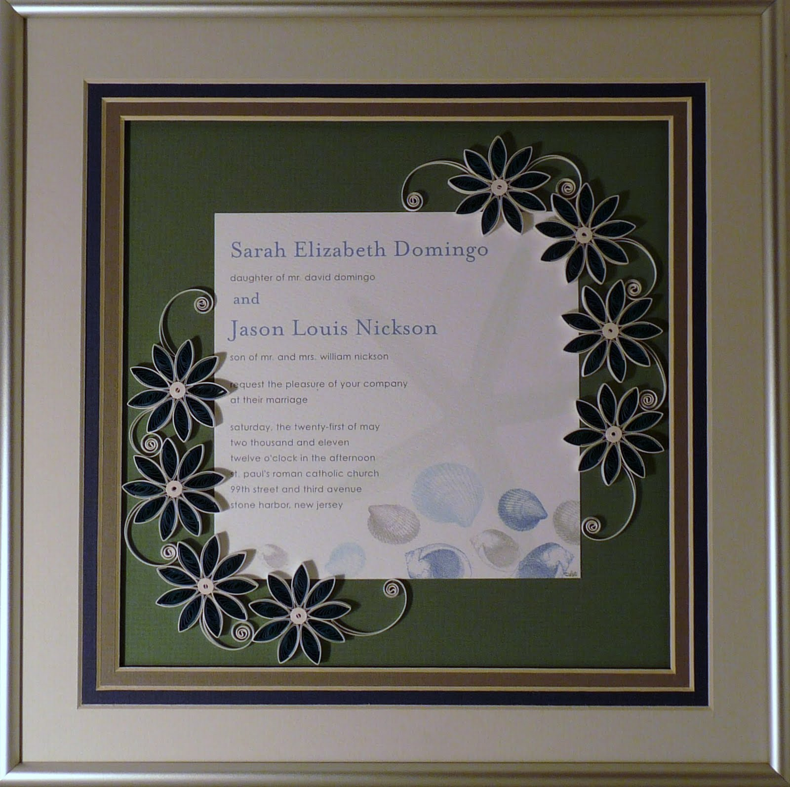 Quilling By Sandra White: Custom Quilled Wedding Invitation Keepsakes
