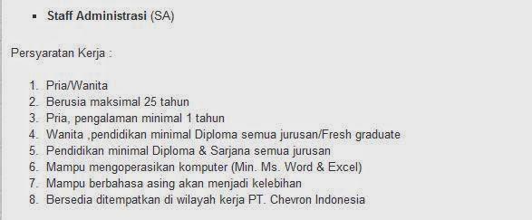 lowongan kerja pt chevron pacific indonesia agustus 2014 karawang