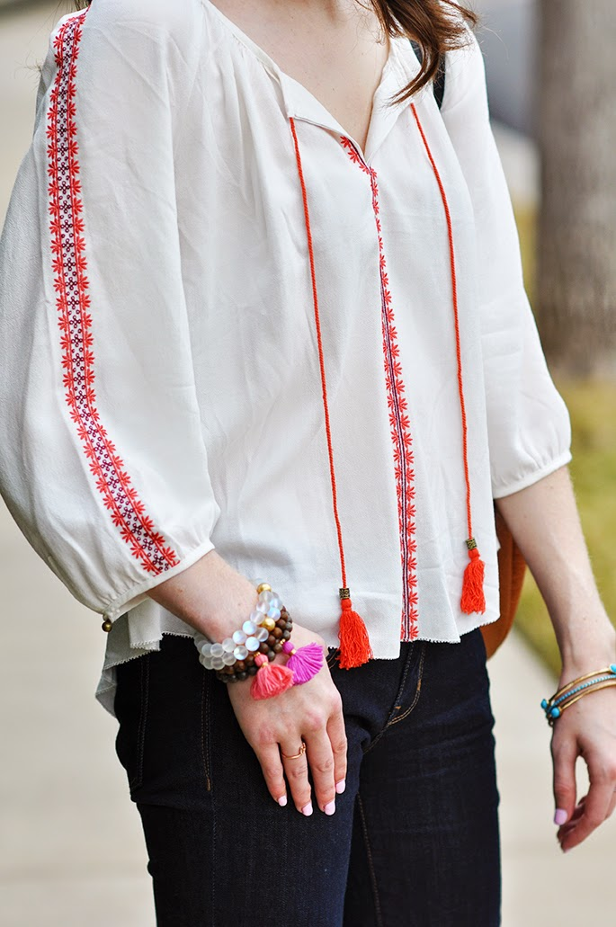 Forever21 embroidered peasant blouse