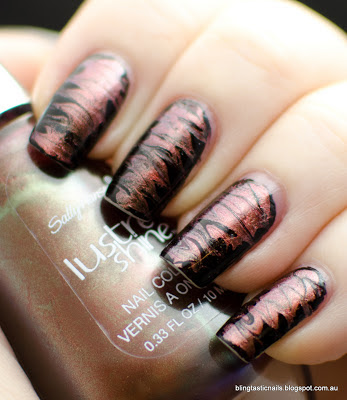 Drag Marble manicure with Sally Hansen Lustre Shine Copperhead and A-England Lancelot