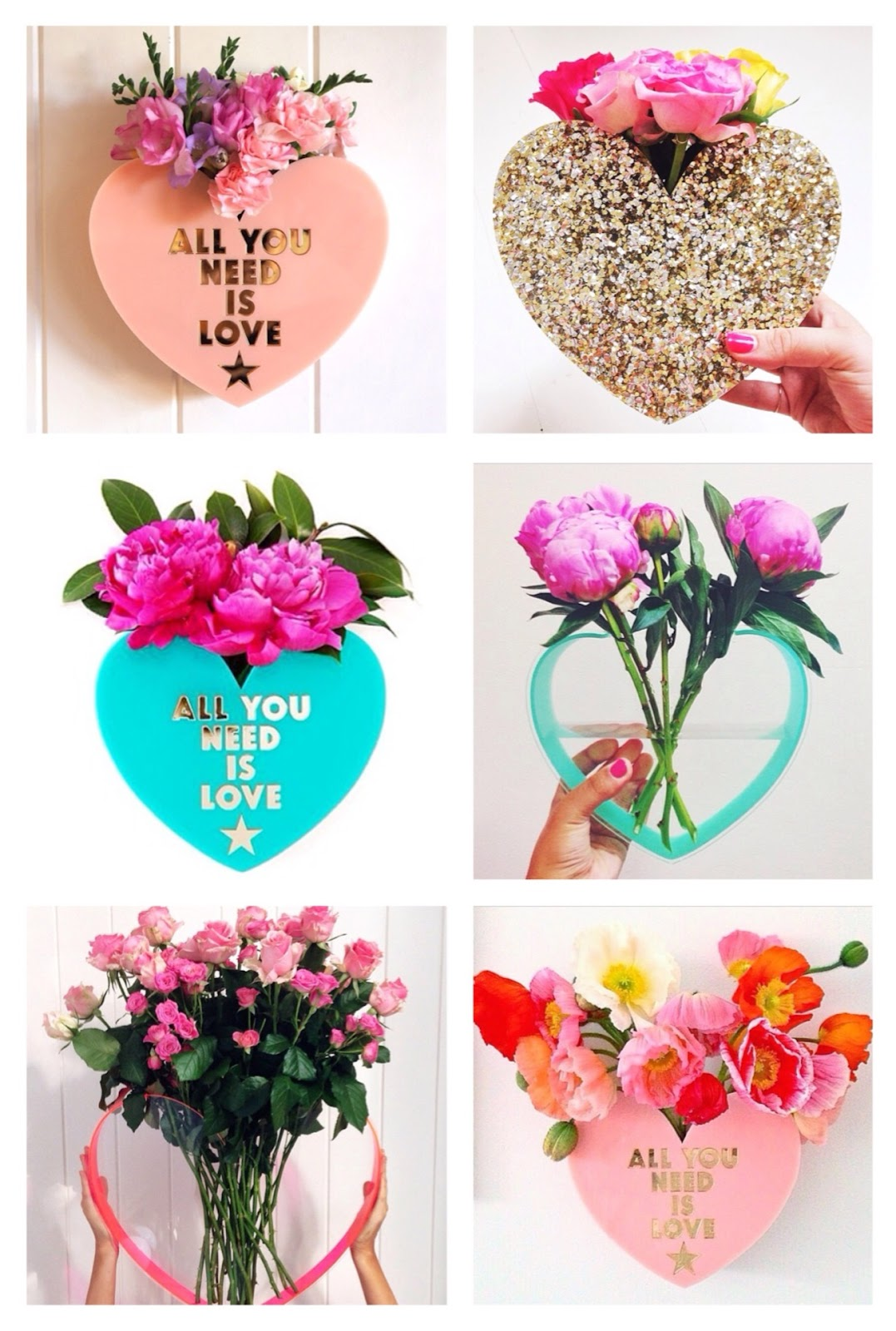 love star fower vases, lovestar, all you need is love floral arrangement, glitter vase, transparent water flower vase